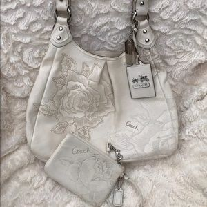 Coach Floral Embroidered Maggie Shoulder Bag